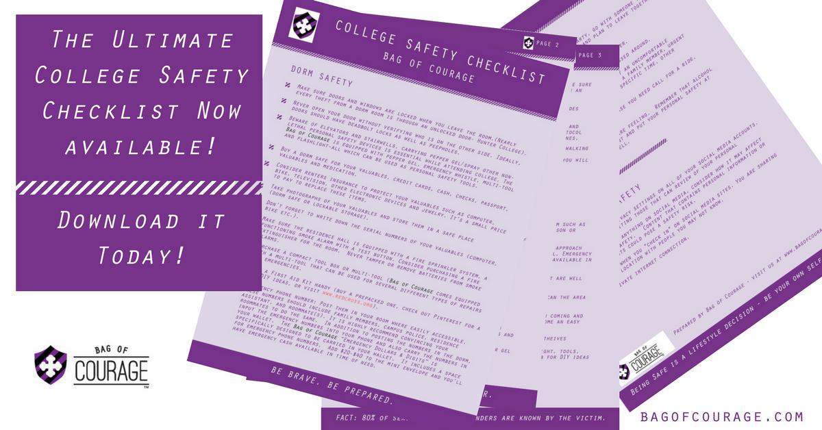 College Safety Checklist - Bag of Courage